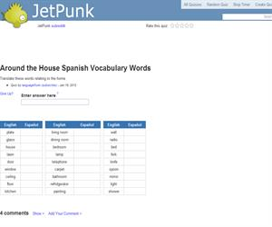 Around the House Spanish Vocabulary Words