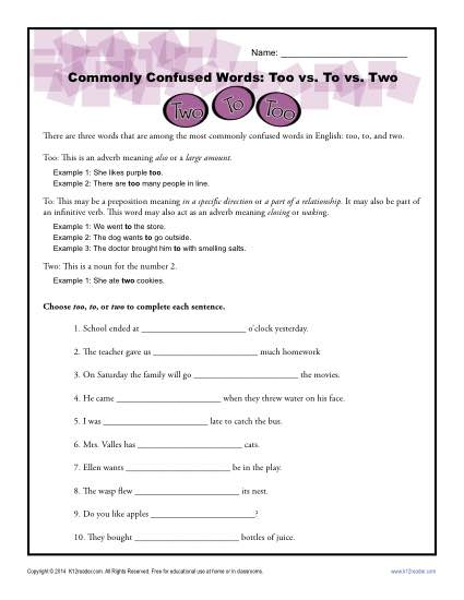 Too vs. To vs. Two – Commonly Confused Words Worksheet