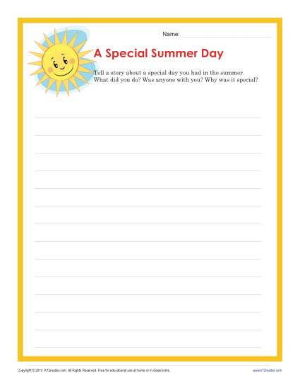A Special Summer Day Writing Prompt