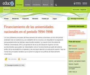 Financiamiento de las universidades nacionales Argentinas en el período 1994-1998