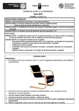 Examen de Selectividad: Diseño. Murcia. Convocatoria Septiembre 2013
