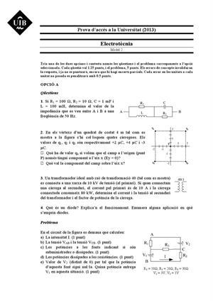 Examen de Selectividad: Electrotecnia. Islas Baleares. Convocatoria Septiembre 2013
