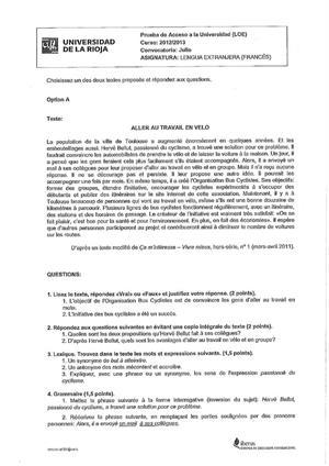 Examen de Selectividad: Francés. La Rioja. Convocatoria Julio 2013