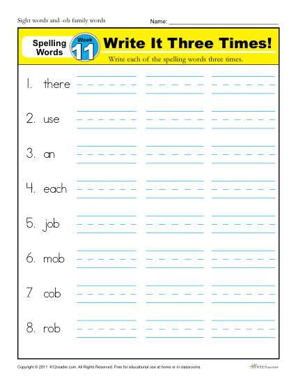 First Grade Spelling Words List – Week 11 (List A-11)