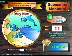 Submarino Monturiol. Juego de Matemáticas para aprender a contar (genmagic.org)