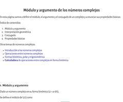 Módulo y argumento de los números complejos