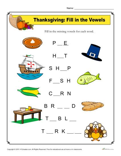 Thanksgiving Fill in the Vowels