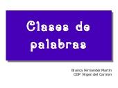 Clases de palabras por Blanca Fernández
