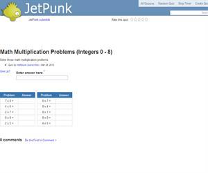 Math Multiplication Problems (Integers 0 - 8)