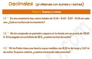 Decimales (problemas con sumas y restas) - Ficha para imprimir