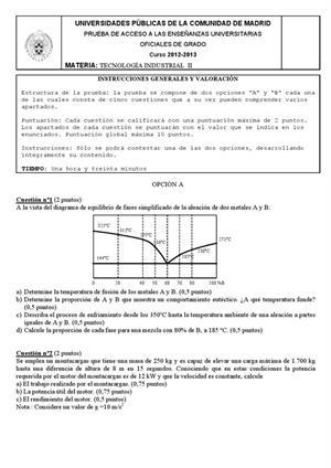 Examen de Selectividad: Tecnología industrial. Madrid. Convocatoria Junio 2013