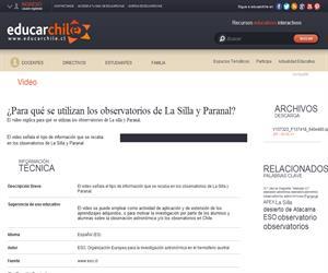 ¿Para qué se utilizan los observatorios de La Silla y Paranal? (Educarchile)