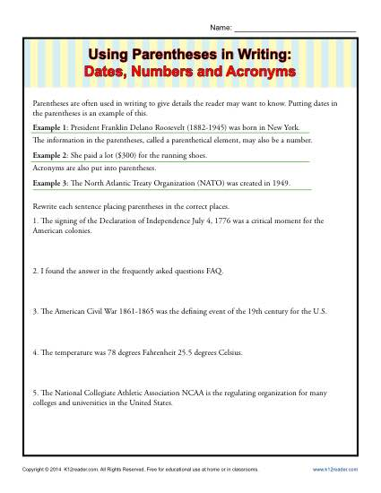Using Parentheses in Writing: Dates, Numbers and Acronyms