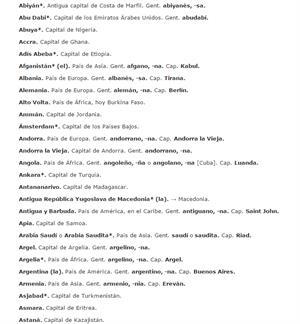 Lista de países y capitales, con sus gentilicios (RAE)