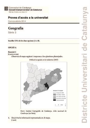 Examen de Selectividad: Geografía. Cataluña. Convocatoria Junio 2014
