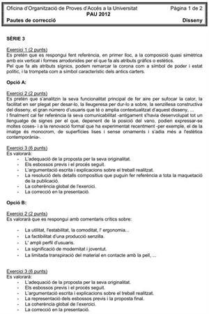 Examen de Selectividad (Soluciones): Diseño. Cataluña. Convocatoria Junio 2012