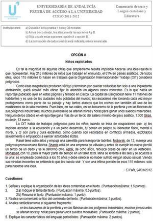 Examen de Selectividad: Lengua castellana y Literatura 2. Andalucía. Convocatoria Junio 2012