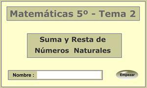 Números naturales. Suma y resta de números naturales