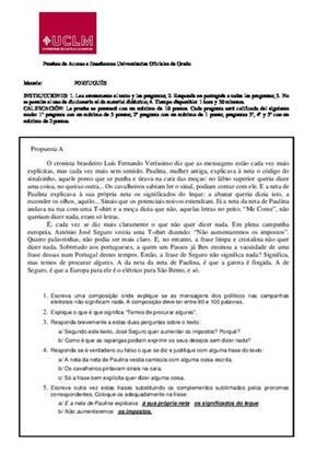 Examen de Selectividad: Portugués. Castilla-La Mancha. Convocatoria Junio 2014