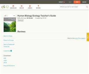 Human Biology Ecology Teacher's Guid?