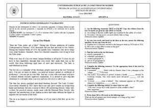 Examen de Selectividad: Lengua extranjera. Inglés. Madrid. Convocatoria Junio 2015