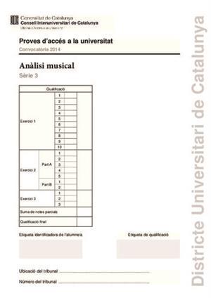 Examen de Selectividad: Análisis musical. Cataluña. Convocatoria Junio 2014