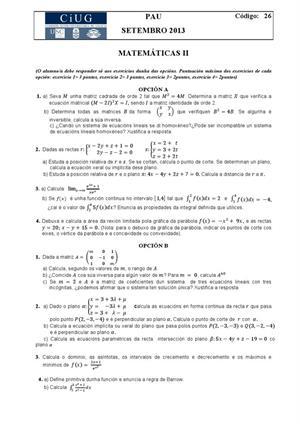 Examen de Selectividad: Matemáticas II. Galicia. Convocatoria Septiembre 2013