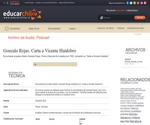 Gonzalo Rojas. Carta a Vicente Huidobro (Educarchile)