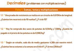 Decimales (problemas con multiplicaciones)