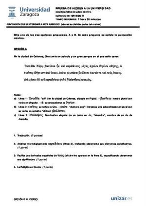 Examen de Selectividad: Griego. Aragón. Convocatoria Junio 2014