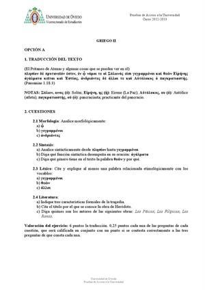 Examen de Selectividad: Griego. Asturias. Convocatoria Junio 2013