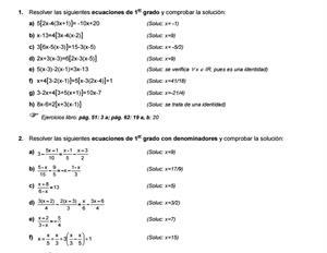 Ejercicios de ecuaciones y sistemas de 1º y 2º grado