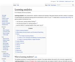 Learning analytics: Wikipedia article