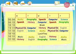 School Subjects (My Timetable II): comprensión de inglés para 5º de Primaria