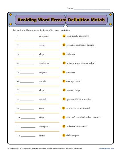Avoiding Word Errors: Definition Match