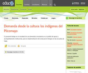 Demanda desde la cultura : los indígenas del Pilcomayo