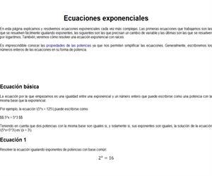 Introducción a las Ecuaciones Exponenciales