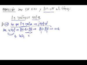 Caracterización de aplicación lineal inyectiva con el nucleo