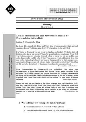 Examen de Selectividad: Alemán. Islas Baleares. Convocatoria Septiembre 2013