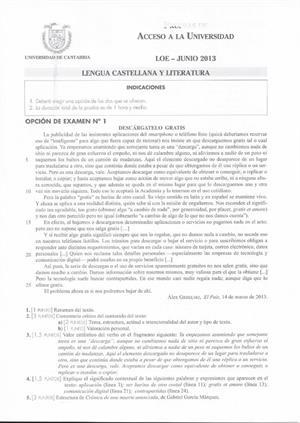 Examen de Selectividad: Lengua castellana y su Literatura. Cantabria. Convocatoria Junio 2013