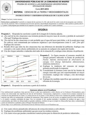 Examen de Selectividad: Ciencias de la Tierra y Medioambiente. Comunidad de Madrid. Convocatoria Junio 2012