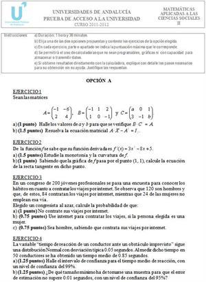 Examen de Selectividad: Matemáticas aplicadas 1. Andalucía. Convocatoria Junio 2012