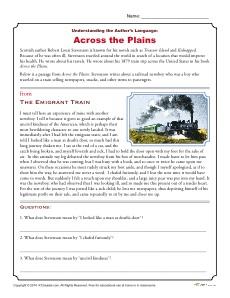 Understanding the Author's Language: Across the Plains