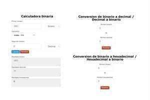 Calculadora de números binarios online