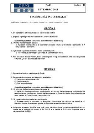 Examen de Selectividad: Tecnología industrial. Galicia. Convocatoria Septiembre 2013