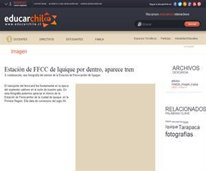 Estación de FFCC de Iquique por dentro, aparece tren (Educarchile)