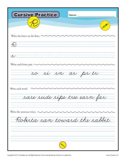 Cursive R – Letter R Worksheet