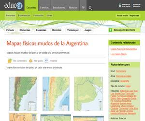 Mapas físicos mudos de la Argentina