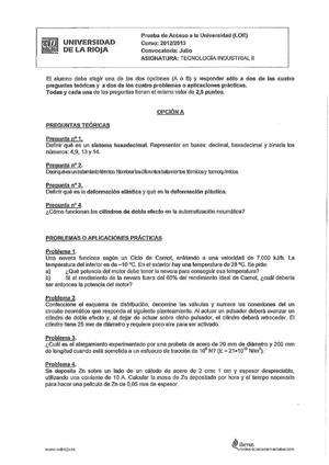 Examen de Selectividad: Tecnología industrial. La Rioja. Convocatoria Julio 2013