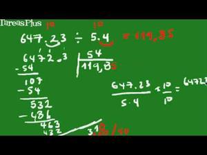 división de números decimales forma corta (Tareas Plus)